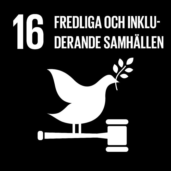 FN:s 17 globala hållbarhetsmål: 16 Fredliga och inkluderande samhällen